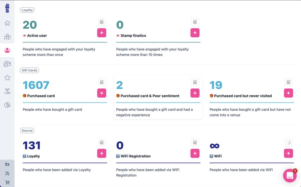The brand new segmentation menu within Stampede Marketing