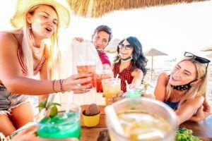 Staycation people having drinks